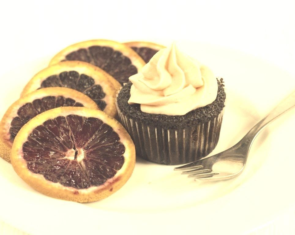 Chocolate Blood Orange Cupcakes.