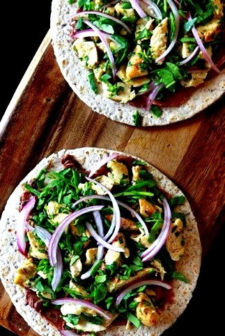 garlic chicken, black bean, and spinach quesadillas