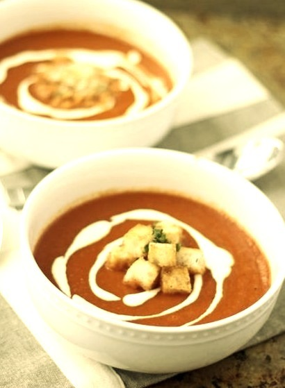 Roasted Red Pepper Soup with Goat Cheese Cream & Buttered Croutons