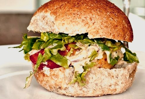 Chicken Burgers with Spicy Barbecue Yoghurt Sauce