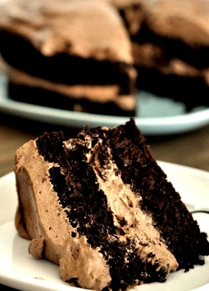 Chocolate Cake with Whipped Chocolate Frosting