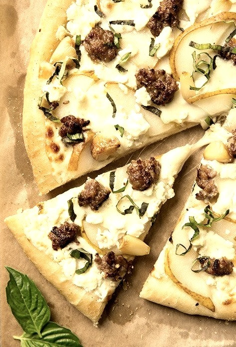 Pear, Goat Cheese and Italian Sausage Pizza