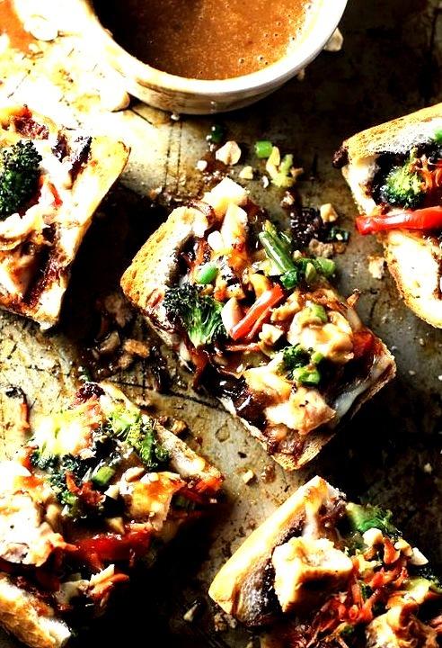 Spicy Thai Chicken French Bread Pizzas