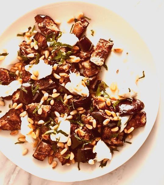 Spiced Eggplant and Buffalo Mozzarella Salad