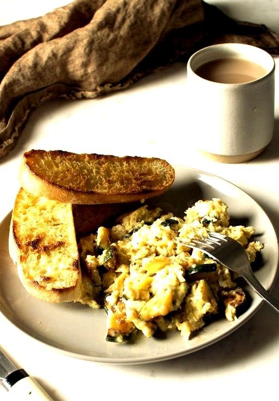 Smokey Chipotle Scrambled Eggs with Zucchini and Mozzarella Flourishing Foodie