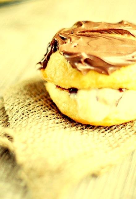 Chocolate Chip Cookie Dough Custard Doughnuts